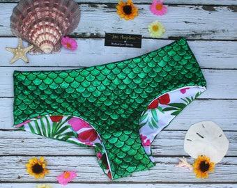 Reversible Bikini Bottom Brazilian Bikini Boy Short Swimsuit Bottoms Cheeky Bikini Mermaid Bikini Swimwear Ariel Tropical  * READY TO SHIP*