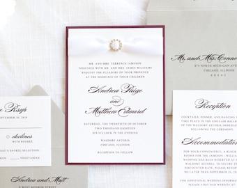 Elegant & Formal Wedding Invitation with Satin Ribbon and Rhinestone Embellishment - The Fetching Suite - Elegant, Formal, and Glamorous