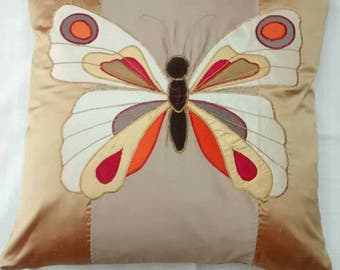 Handmade silk cushion with Fiery Butterfly applique - 43cm luxury furnishing
