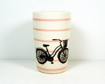 itty bitty cylinder / vase / cup with a speedy delivery bike on bubblegum pinstripes READY TO SHIP