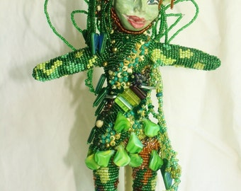 Woodland Fairy - Beaded Art Doll
