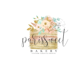 Cake Logo Premade Graphic Design Business Gold Watercolor Bakery Floral