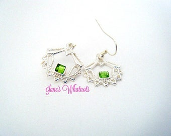 Silver and green earrings, Dangle, Peridot, Green stone, St. Patrick's Day, Anniversary, Birthday