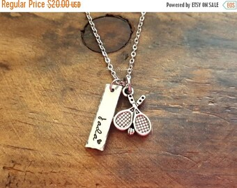 Hand Stamped Tennis Racquet Necklace, Tennis Player Necklace, Tennis Lover Gift, Sport Jewelry, Gift for Her, Christmas Gift, Tennis Charm