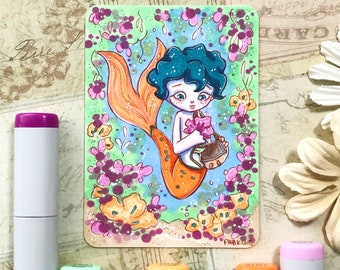 MerMay merboy picking flowers, Motther's Day - Original ACEO hand drawn, copic illustration, Artist Trading Card, Sketchcard 2.5 x 3.5 inche