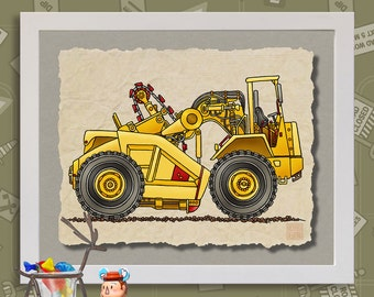 Kid Construction Art Big Earthmover Whimsical yellow dirt digger print adds to kids room construction zone as 8x10 or 13x19 wall decor
