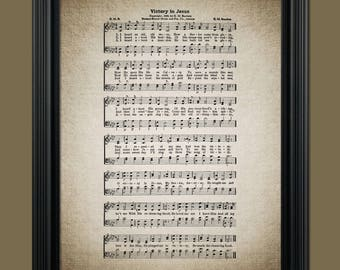 Victory in Jesus Hymn Print - Hymnal Sheet - Sheet Music- Home Decor - Inspirational Art - Gift - Instant Download - #HYMN-038