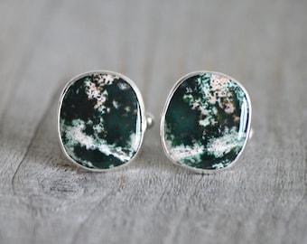 Jasper Cufflinks Set In Sterling Silver, Gemstone Cufflinks For Him, Wedding Gift Handmade In The UK