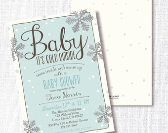 Baby It's Cold Outside Shower Invitation, Printable, Boy Shower Invite, Blue, Silver, Snowflake, Winter, Sprinkle, Open House, Sip and See
