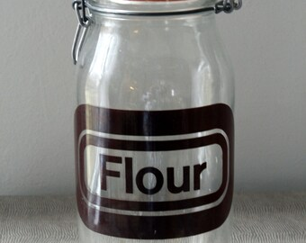Vintage Flour Glass Container Pantry Storage Style Farmhouse Boho Canister Kitchen Utensil