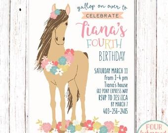 Horse Birthday Invitation, Pony Invitation, Horse Invitation, Pony Birthday Invitation, Shabby Chic Horse Invitation, Cowgirl Invitation