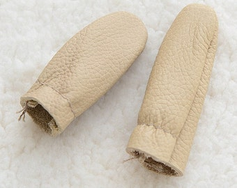 Needle Felting Finger Protectors, Finger Guards, Leather, One Pair