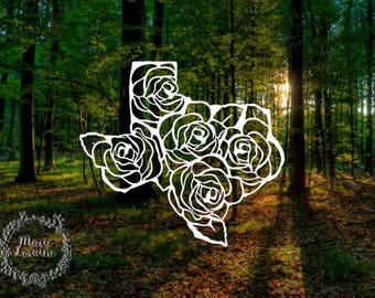 Floral Texas Decal - Texas Sticker - Texas Decal - Car Sticker - Laptop Stickers - Texas Rose - Rose Decal - Bumper Sticker - Stickers