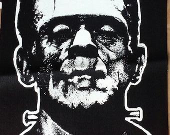 BACK PATCH - Frankenstein - canvas screen print HORROR - Boris Karloff Universal Horror Monsters