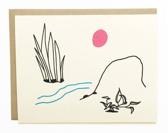 NEW - Landscape - River and Moon - Hand Illustrated Greeting Card - Blank Inside