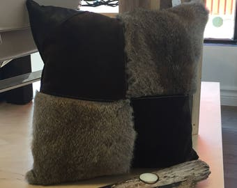 Rabbit, suede and leather cushion