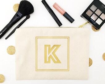 Monogram Cosmetic Bags - Large Initial - Cosmetic Bags - Gold Zip Bag