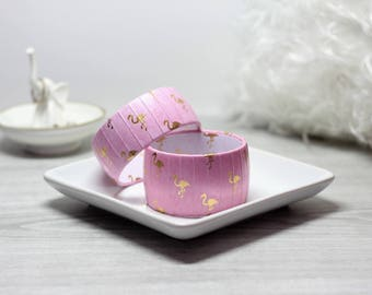 Flamingo Bracelet - Pink Flamingo Bracelet - Flamingo Jewelry - Pink Bracelet with Gold Flamingos - Pink and Gold Bracelet - Flamingo Bangle