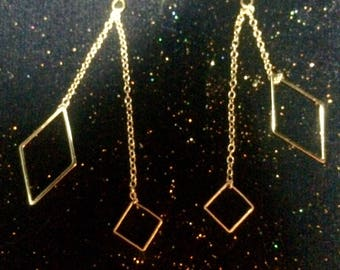Dangle earrings, gold, chain gourlette, gold, gold, square diamond geometric asymmetrical