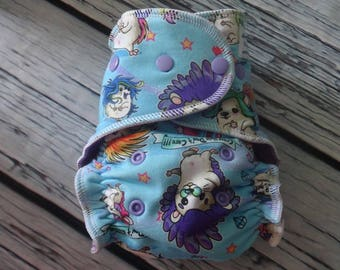 Fitted Cloth Diaper - Stay Dry Liner - Overnight Fitted - Optional Hemp or Bamboo Insert - Crazy Hair