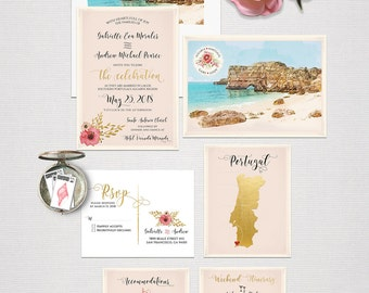Destination wedding invitation Portugal Algarve Coast Beach Blush Pink wedding invitation RSVP Illustrated invitation Deposit Payment
