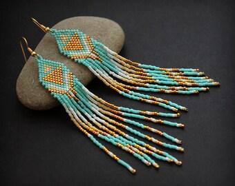 Long turquoise seed bead earrings Delicate boho earrings Long beaded earrings Elegant bohemian earrings Hanging funky earrings Gift for wife