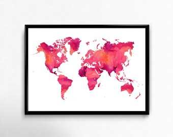Watercolor world map printable, Watercolor print, World map wall art, Map art, Printable illustration, Travel poster