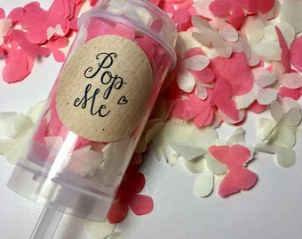 Coral wedding decor etsy push pop biodegradable confetti coral and ivory wedding decorations handmade eco friendly junglespirit Images