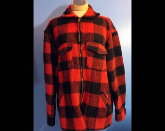 Vintage Melton Wool Shirt Zipper Jacket Red and Black Buffalo Plaid Size Mens XL