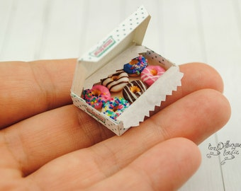 6 Donuts made from polymer clay miniature food, dollhause, Doll House, scale 1:12
