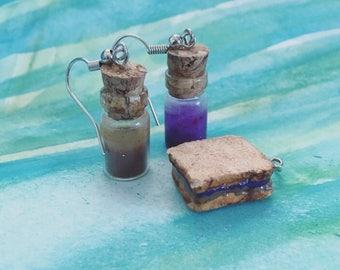 PBJ sandwich charm & jelly and peanut butter jar earrings set
