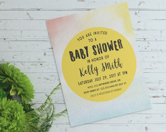 Yellow Watercolor Baby Shower Invitation - 5x7- Digital Art