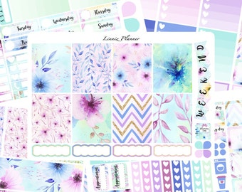 Watercolor Flower Weekly Kit or Al a Carte (matte planner sticker, fits perfect in Erin Condren Life Planner Vertical)