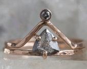 Salt and Pepper Trillion Diamond Engagement Ring