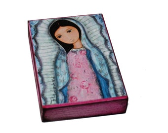 Holy Mary of Guadalupe - Aceo Giclee print mounted on Wood (2.5 x 3.5 inches) Folk Art  by FLOR LARIOS