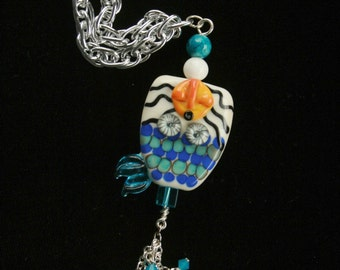 Mermaid Sea Fantasy Necklace Handmade Handcrafted One of A Kind Lampwork, Sterling Charms-OOAK