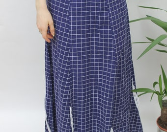 1970s Navy & White Grid Print Maxi Skirt Size UK 8, US 4, EU 36