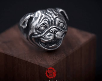 Sterling Silver 925 Pug Ring, Pet Ring, Dog Ring, Songyan Jewelry