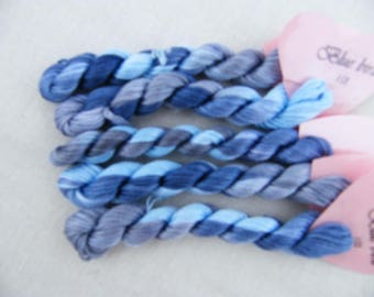 153 - Bluebird, Variegated Stranded Cotton, hand dyed in France, Fils a Soso, 8 metre skein, hand dyed yarn, blue tones.