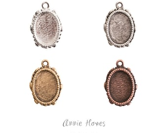Ornate Mini Pendant Charm With Glass Insert. Choose Your Color. Silver, Antique Silver, and Copper, Antique Gold. Annie Howes. OMPOS-SB