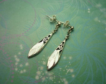 Vintage Sterling Silver Earrings - Mother of Pearl