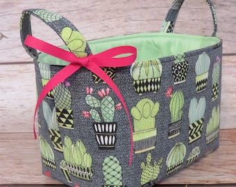 Storage and Organization - Cactus Hoedown - Michael Miller Fabric - Fabric Organizer Bin Storage Container Basket Nursery Baby Room Decor