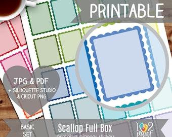 Scallop Full Box Printable Planner Stickers, Erin Condren Planner Stickers, Scallop Stickers, Full Box Stickers - CUT FILES