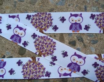 "3 yards Owl ribbon Purple Owl Printed ribbon Grosgrain Ribbon 7/8"" Grosgrain hair bow ribbon supplies craft supplies ribbon by the yard"