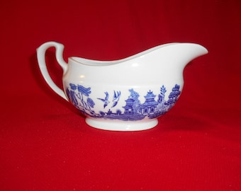 One (1), Gravy Boat, from Churchill, in the Georgian Shape, Willow Blue Pattern.