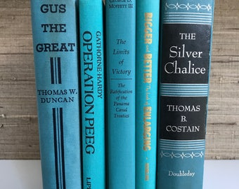 Blue Green decorative books, turquoise,home decor,vintage books,Interior Design,Decor,Library,Book Stack,Staging,wedding decor, photo prop