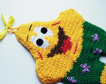 Pot Holder Patrick Star (SpongeBob ) - knitting - Yellow - Green - Red