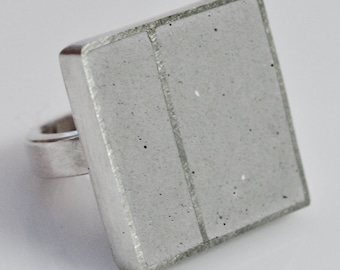 Sterling Silver & Concrete Hand Fabricated Ring