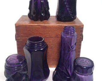 Salt lot, Vintage Purple Glassware, lot of 6, Antique salt, pepper, dug, top, shaker, free shipping