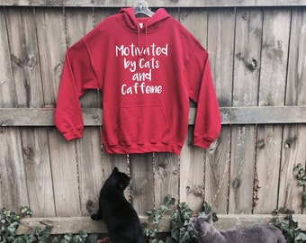 Pullover hoodie, sweatshirt, Valentine gift, red, Motivated by Cats Caffeine, funny sweatshirt, unisex, cat shirts for women, funny tshirts